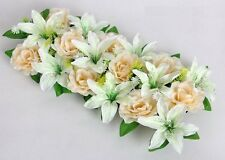 2pcs Artificial Silk Rose&Lily Arch Frame In a row Wedding Road Decorative