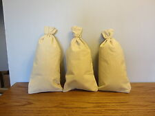 "3 CANVAS COIN BAGS MONEY CHANGE SACK BAG   9"" BY 17.5""  BANK DEPOSIT TRANSIT"