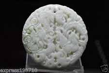 100% natural Chinese hand carved Dragon phoenix white Jade Amulet pendant 1PC