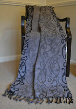 Grey Black Shades Throw Blanket 170cm Soft Chenille Luxury 100% Cotton Present