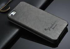 iPhone 5s/5 Hülle echt Farbe Grau  echt Leder Luxus Tasche Klapp Etui Flip Case