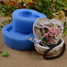 Heart Jewellery Box Resin Molds Silicone Soap Mould Jelly Pudding Chocolate Form