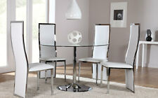 Orbit & Celeste Round Glass & Chrome Dining Room Table And 4 Chairs Set (White)