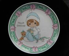 Precious Moments MEOWIE CHRISTMAS 1995 PLATE Girl with Kitten Cat Holly ~ NIB