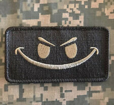 EVIL SMILEY SMILE FACE TACTICAL MORALE ISAF ARMY MILSPEC ACU LIGHT HOOK PATCH