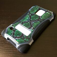 For Samsung Galaxy S5 -HARD&SOFT RUBBER HYBRID ARMOR CASE GREEN BLACK SNAKE SKIN
