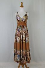 Magic Bohemian Indian Gypsy Long Brown Cotton Batik Tiered Sundress Dress S