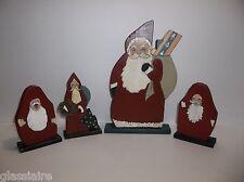 Vintage Folk Art  CHRISTMAS PAST Wood SANTA Figures Hand Painted SIGNED Set Of 4