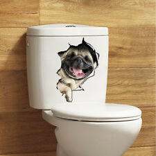3D Dogs Toilet Seat Decals Wall Sticker Vinyl Mural Art Removable Bathroom Decor