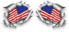 Sml Pair STD RIP Ripped Torn Metal American Stars & Stripes US Flag car sticker