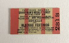 Old Vintage 1960s Welsh Festiniog Railway Train Ticket - Quarrymans Weekly