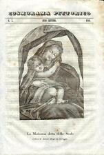 Stampa antica MADONNA DELLA SCALA Correggio Parma 1841 Old antique print