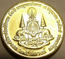 Gem Brilliant Unc Thailand 1996 25 Satang~Mahathat Temple~Double Elephants~Fr/Sh