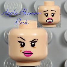 NEW Lego Light Flesh FEMALE MINIFIG HEAD -Girl Woman Pink Lips Leia Tamina Smile
