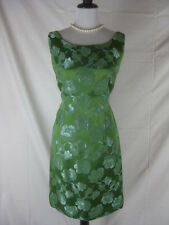Vtg 50s 60s Green Womens Vintage Brocade Cocktail Party Dress W 32