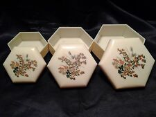 Vintage Set Of 3 Hard Plastic Nesting Hexagon Vanity Dresser Trinket Boxes