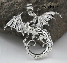New Elegant Silver Jewelry Flying Dragon Charms Necklace Pendant Dangle Jewelry