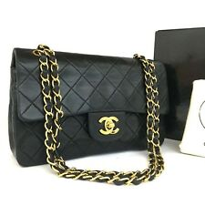 CHANEL Double Flap 23 Quilted CC Logo Lambskin w/Chain Shoulder Bag Black/130