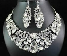 SHINY CLEAR AUSTRIAN RHINESTONE CRYSTAL BIB NECKLACE EARRINGS SET BRIDAL N1418