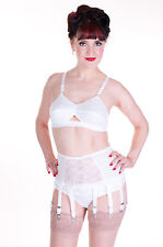 086  Lace Panel Suspender Belt, 10 strap, black, red or white all sizes