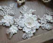 Bridal Pearl Lace Applique Corded Wedding Motif Ivory Lace Applique Trim 1 Piece