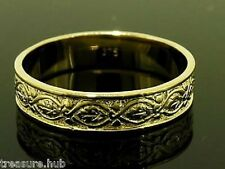 R019 GENUINE Solid 9K Solid Yellow GOLD Etched Vintage Wedding Band Ring size S