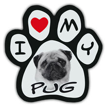 Picture Paws | Dog Paw Shaped Magnets: I LOVE MY PUG | Car Magnet