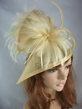 Gold Sinamay & Feathers Twist Fascinator - Hat Occasion Wedding Races