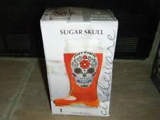 WHITE SUGAR SKULLS GLASS BEER BOOT GIANT 33 OZ 1 LITER  DAY OF THE DEAD HTF RARE