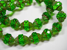 15 12x10mm Czech Glass Faceted Emerald Green Picasso Turbine Beads