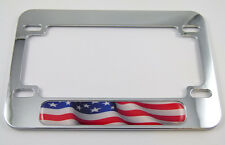 USA American Flag  Motorcycle Bike plastic ABS Chrome Plated License Plate Frame