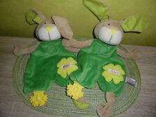 2 Stück  Hase  (  wie  Neu )   Schmusetuch   Schnuffeltuch    Sigikid   grün