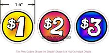 """54 Price Decals 1.5"""" D Concession Ice Cream Hot Dog Food Truck $1 $2 $3 Stickers"""