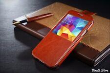 S-View Handyhülle Tasche für Samsung Galaxy S5 Hülle - Braun (0DBR)