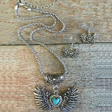 Western Cowgirl Jewelry Winged Heart Faux Turquoise/Crystals Jewelry Set