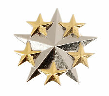 WWII US UNITED STATES NAVY SIX STAR GENERAL RANK METAL HAT BADGE SILVER