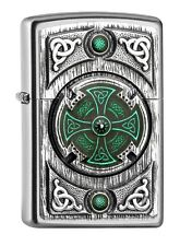 "ZIPPO ""CELTIC GREEN CROSS"" SATIN FINISH EMBLEM LIGHTER * NEW in BOX *"