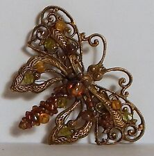 VINTAGE BUTTERFLY INSECT BROOCH RHINESTONES BEADS GOLDTONE/PLATE