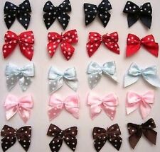 "50 Pink,Blue,Red,Black,Brown Polka Dots Satin 1"" Ribbon Bow/trim/made hair F80"