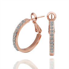 Lovely 18K Rose Gold GP Circle Hoops Gram Crystal Earrings Free Shipping From US