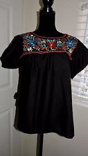 mexican blouse embroidery flowers black bohemian boho chic style Small