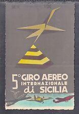"""A 38 ) tolle Luftpost Karte  """"Giro Aereo Internationale di Sicilia"""" Italien 1953"""