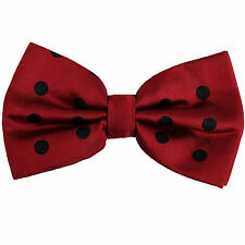 New Formal men's pre-tied bow tie 100% polyester wine red black polka dots