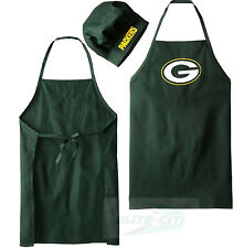 GREEN BAY PACKERS COOKING APRON & CHEF HAT, NFL BARBECUE TAILGATING GEAR