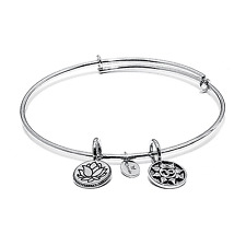 Chrysalis Petite Mantra Expandable Bangle in Rhodium Plate, CRBT0006SPSML