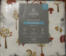Flannel Sheet Set Woodland Animals Racoons, Owls, Foxes, Bunnies TWIN Sz NWT