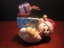 Fitz &  Floyd 1995 Christmas Snowman and Bag of Presents Salt and Pepper Shaker