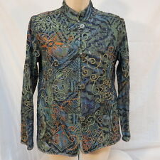 Chico's Denim Oriental Style Embroidery Jacket Size 1