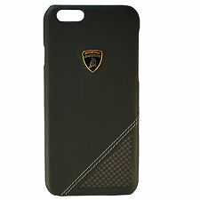 LAMBORGHINI IPHONE 6/6S LEATHER+CARBON BACK CASE COVER AVENTADOR D6 BACK BLACK
