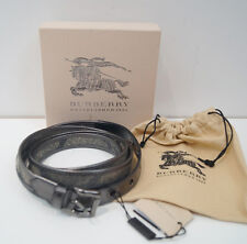 BURBERRY Gunmetal Grey Leather & Beige Gold Fabric Double Wrap Around Belt BNWT
